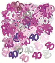 Pink Glitz Table Confetti - Age 40